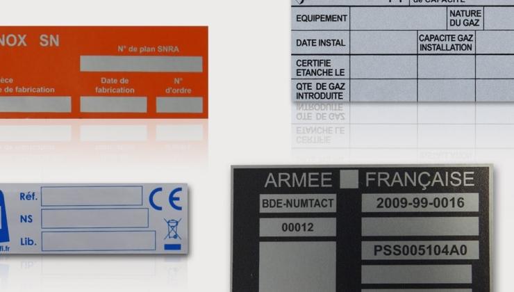 Etiquettes constructeur souples sérigraphiées sur polyester ou solidfoil