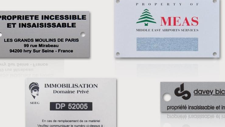 Plaques d'inventaire en aluminium sérigraphié une ou plusieurs couleurs