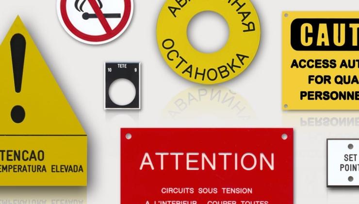 Etiquettes de sécurité réalisée en gravoply par gravure mécanique