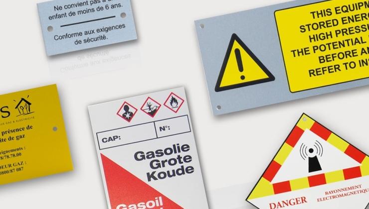 Plaque de sécurité réalisée en sérigraphie de 1 à 3 couleurs sur aluminium naturel ou laqué