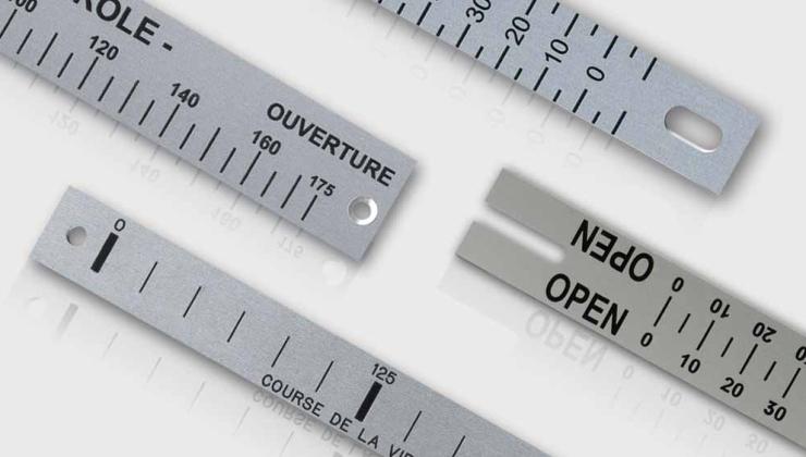 Réglets imprimé par sérigraphie sur métal (aluminium, inox)
