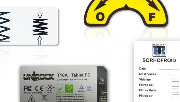 Etiquettes industrielles fabriquées en impression numérique sur vinyle