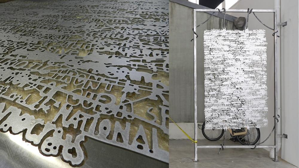 Découpe métal pour oeuvre d'art au Palais de Tokyo