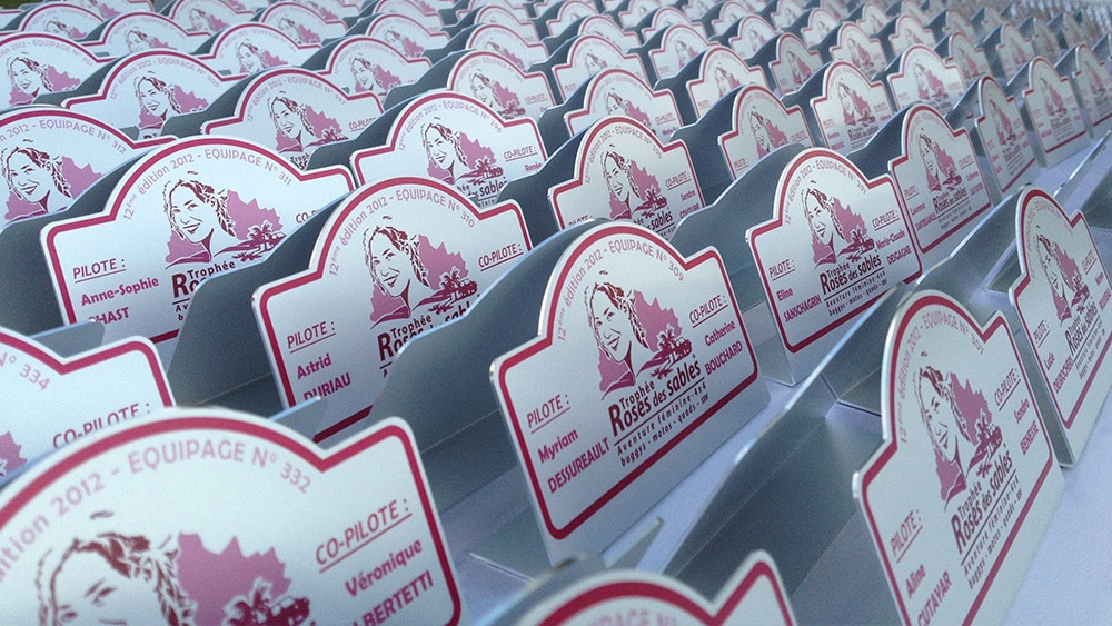 trophée aluminium pour la Roses des Sables